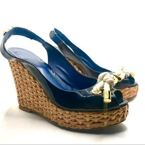 TORY BURCH BLUE PATENT LEATHER  NAUTICAL WEDGES